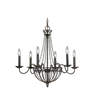 Novara Aged Walnut Six-Light Chandelier