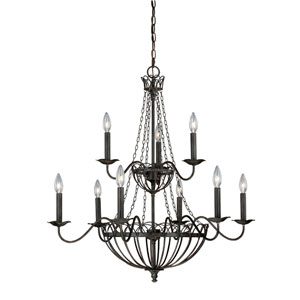 Novara Aged Walnut Nine-Light Chandelier