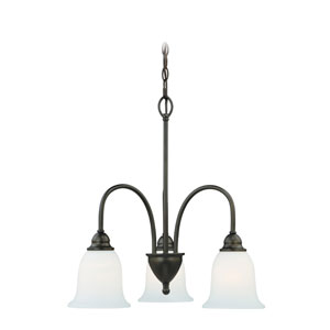 Concord Oil Rubbed Bronze 21-Inch Wide Three-Light Chandelier with Etched White Glass
