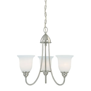 Concord Satin Nickel 20.5-Inch Wide Three-Light Chandelier with Etched White Glass
