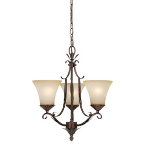 Coricelli Royal Bronze Three-Light Chandelier with Brushed Cognac Glass
