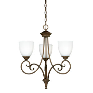 Claret Venetian Bronze Three-Light Chandelier with Etched White Glass