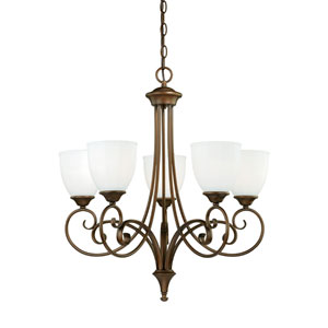 Claret Venetian Bronze Five-Light Chandelier with Etched White Glass