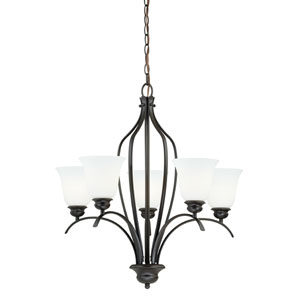 Darby New Bronze 27-Inch High Five-Light Chandelier with Etched White Glass