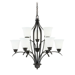 Darby New Bronze Nine-Light Chandelier with Etched White Glass