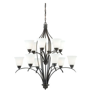 Darby New Bronze 12-Light Chandelier with Etched White Glass
