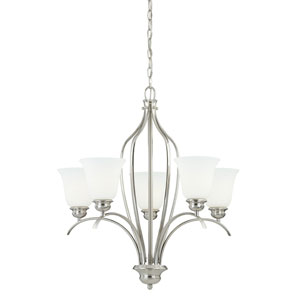 Darby Satin Nickel 27-Inch High Five-Light Chandelier with Etched White Glass