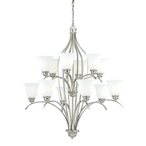 Darby Satin Nickel 12-Light Chandelier with Etched White Glass
