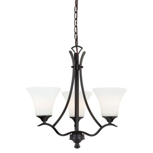 Cordoba Noble Bronze Three-Light Chandelier with Etched White Glass