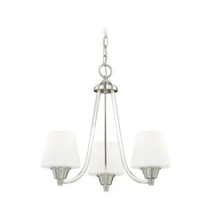 Calais Satin Nickel Three-Light Mini Chandelier with Frosted Opal Glass