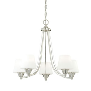 Calais Satin Nickel Five-Light Chandelier with Frosted Opal Glass