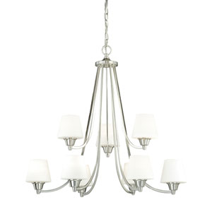 Calais Satin Nickel Nine-Light Chandelier with Frosted Opal Glass