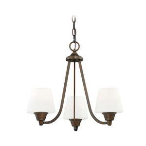 Calais Venetian Bronze Three-Light Mini Chandelier with Frosted Opal Glass