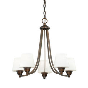 Calais Venetian Bronze Five-Light Chandelier with Frosted Opal Glass
