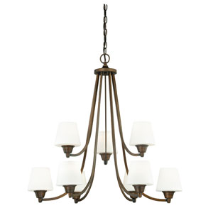 Calais Venetian Bronze Nine-Light Chandelier with Frosted Opal Glass