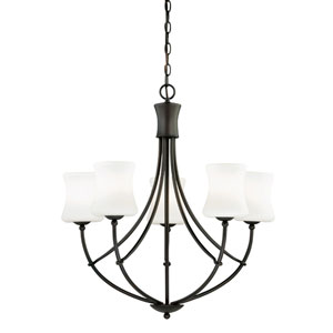 Poirot New Bronze Five-Light Chandelier with Frosted Opal Glass