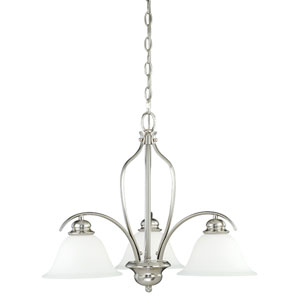 Darby Satin Nickel 22.5-Inch Wide Three-Light Chandelier with Etched White Glass
