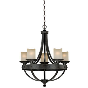 Halifax Aged Walnut Five-Light Chandelier