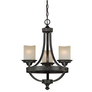 Halifax Aged Walnut Three-Light Mini Chandelier