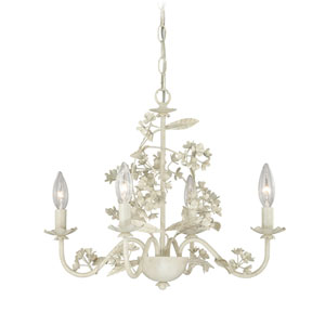 Leilani Antiqued White Four-Light Mini Chandelier