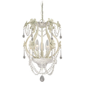 Maile Antiqued White Three-Light Mini Chandelier