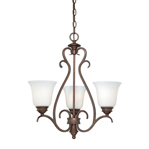 Hartford Weathered Patina Three-Light Mini Chandelier