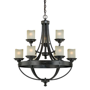 Halifax Black Walnut Nine-Light Chandelier
