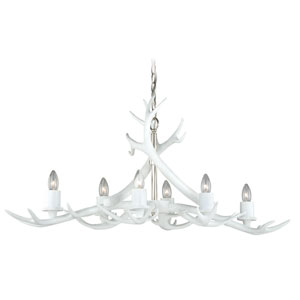 Vail White Six-Light Linear Chandelier