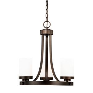 Sorin Architectural Bronze Three-Light Chandelier
