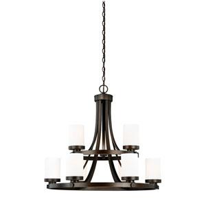 Sorin Architectural Bronze Nine-Light Chandelier
