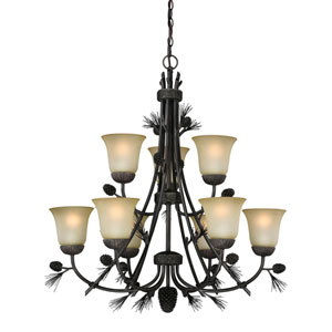 Sierra Black Walnut Nine-Light Chandelier