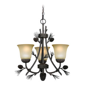 Sierra Black Walnut Three-Light Mini Chandelier
