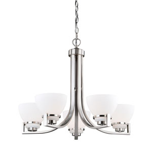 Metropolis Satin Nickel Five-Light Chandelier
