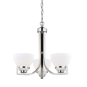 Metropolis Satin Nickel Three-Light Chandelier