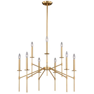 Kedzie Natural Brass Nine-Light Chandelier