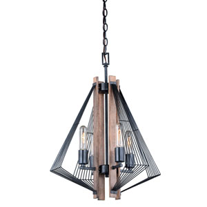 Dearborn Burnished Oak and Black Iron Four-Light Mini Chandelier