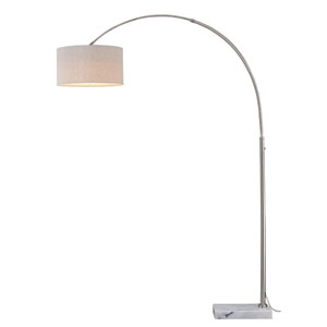 Luna Instalux Satin Nickel LED Arc Lamp with Brown Linen Shade