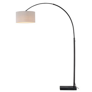 Luna Instalux Oil Rubbed Bronze LED Arc Lamp with Brown Linen Shade