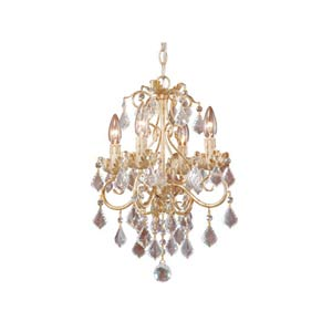 Newcastle Gilded White Gold Four-Light Chandelier
