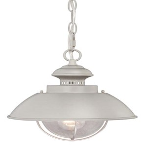 Harwich Brushed Nickel One-Light Outdoor Hanging Mini Pendant with Seeded Glass