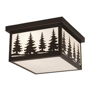 Yosemite Burnished Bronze Two-Light 12-Inch Outdoor Ceiling Light