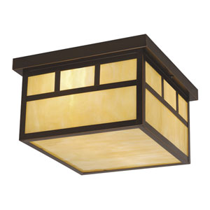 Mission Burnished Bronze Two-Light 12-Inch Outdoor Ceiling Light