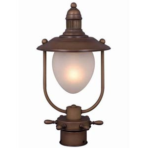 Nautical Red Copper Outdoor Post Mounted Light