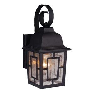 Vista Textured Black Outdoor Wall-Mounted Lantern