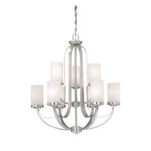 Oxford Brushed Nickel Nine-Light Chandelier