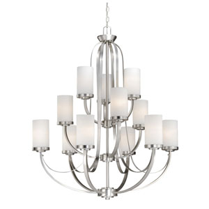 Oxford Brushed Nickel Twelve-Light Chandelier