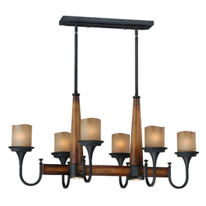 Meritage Charred Wood and Black Iron Six-Light Island Pendant