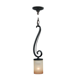 Elba New Bronze One-Light Mini Pendant with Champagne Glass