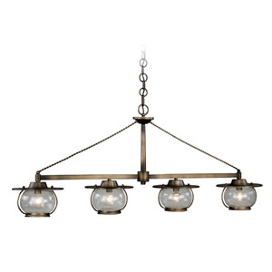 Jamestown Parisian Bronze Four-Light Island Pendant with Seeded Glass