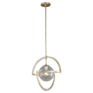 Mondial Silver Leaf One-Light Pendant with Crackled Glass